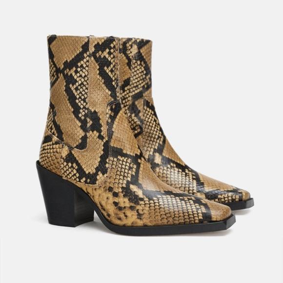 c0e5368e1 NWT Zara Animal Snake Print Leather Ankle Boots